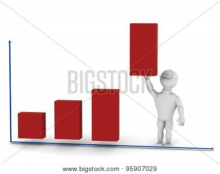 White Man Holding A Bar Graph