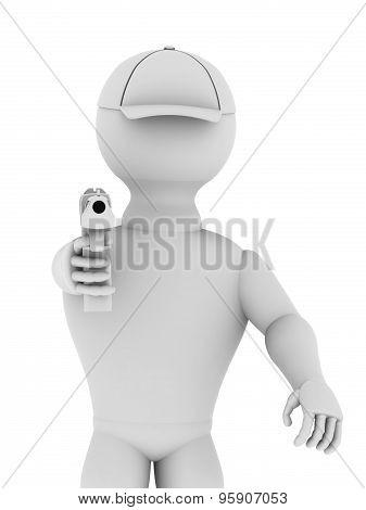 White Man With A Gun Barrel Facing Forward