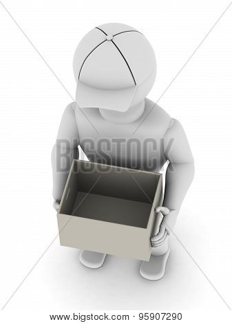 White Man With An Open Empty Box In His Hands