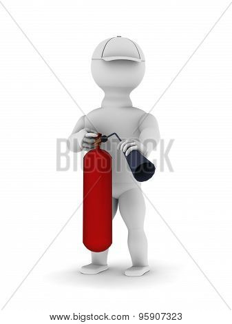 White Man With A Red Fire Extinguisher In His Hands