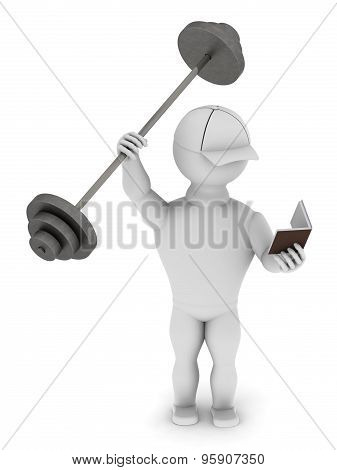 White Man Holding Barbell And Reading A Book