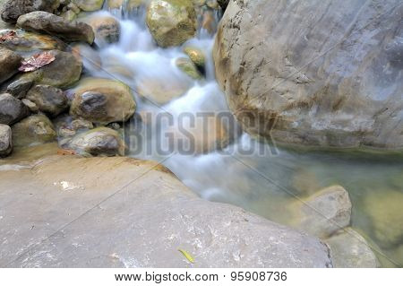 Stream In  Mountains. Unusual Top-down View