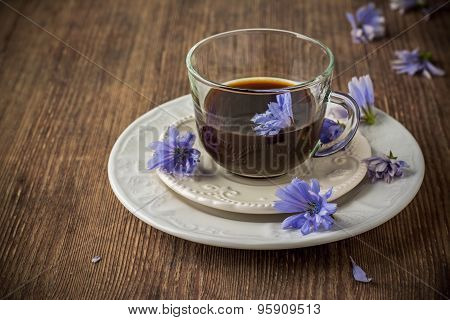 Chicory Flowers And Tea From Chicory.