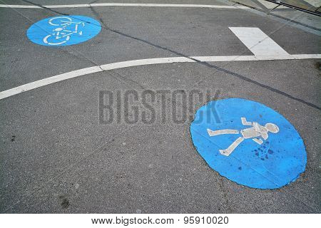 Pedestrian And Bicycle Lane Sign