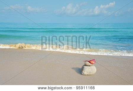 ocean beach background with pink flower lying on stone