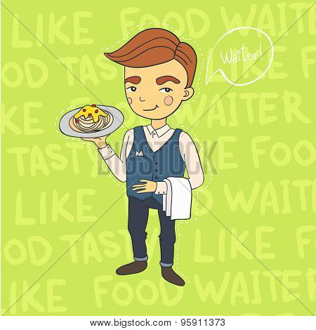 Waiter serving. Vector illustration