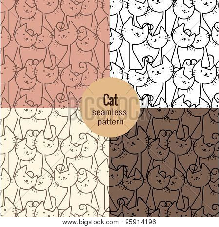 Cat Seamless Patterns Set,pattern Swatches Included For Illustrator User, Pattern Swatches Included