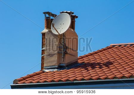 Tiled Roof With A Circular Antenna