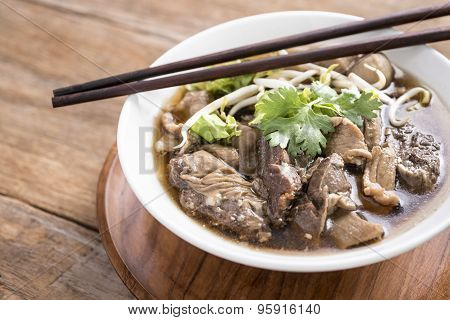 Beef Noodle Soup,close Up Of A Bowl