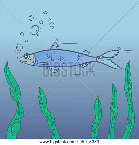 Hand Drawn Illustration - Floating Fish With Bubbles. Vector