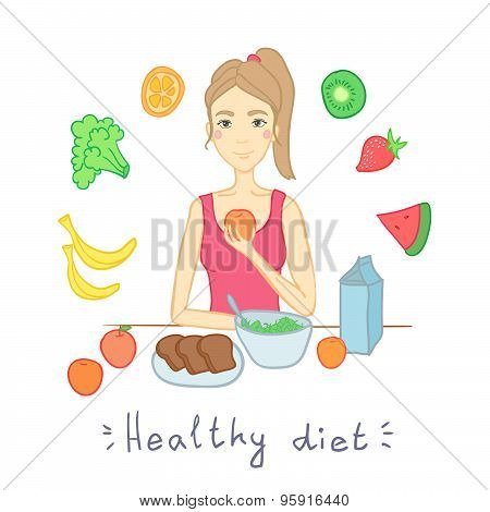 Hand Drawn Illustration  - Woman With Salad Isolated On White. Healthy Diet. Fruits And Vegetables