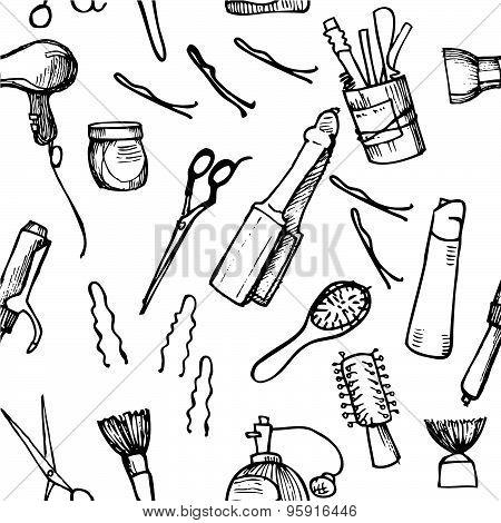 Hand Drawn Illustration - Hairdressing Tools. Pattern.