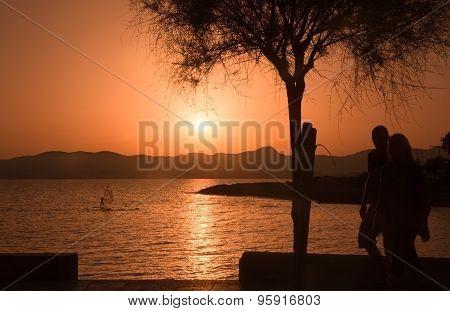 Beautiful sunset across across Palma bay
