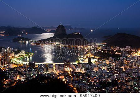 Rio de Janeiro, Sugarloaf Mountain at Night