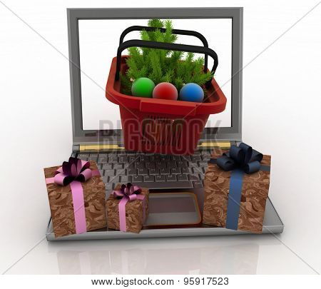 Concept of Christmas online shopping. 3d illustration. Laptop computer with festive shopping baskets on white background