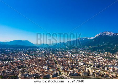 Panoramic View To Grenoble, France