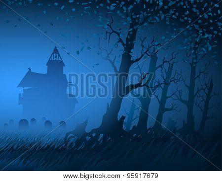 Fog Light Trees Mystical Night Stump Background Hut Cemetery Halloween