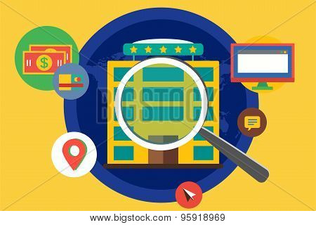 Hotel search infographic. Summer, travel and booking. Vector stock illustrations for design.