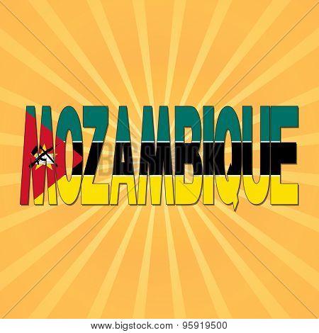 Mozambique flag text with sunburst illustration