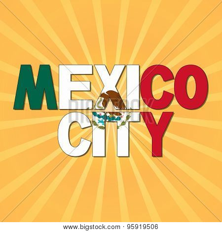 Mexico City flag text with sunburst illustration