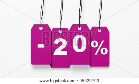 Pink hanging sales tags with twenty percent discount isolated on white background