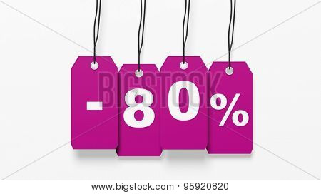 Pink hanging sales tags with eighty percent discount isolated on white background