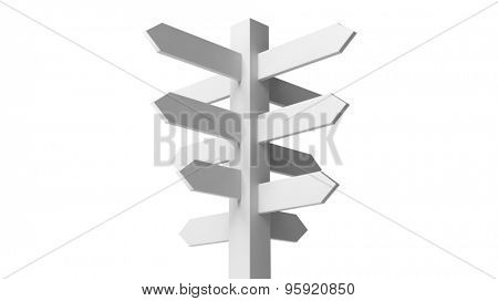 Blank white signpost isolated on white background