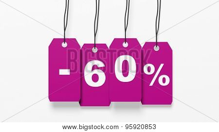 Pink hanging sales tags with sixty percent discount isolated on white background
