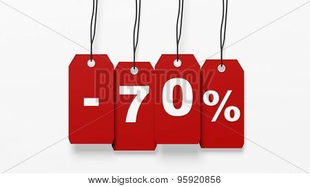 Red hanging sales tags with seventy percent discount isolated on white background