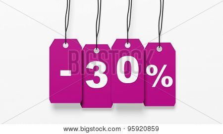 Pink hanging sales tags with thirty percent discount isolated on white background