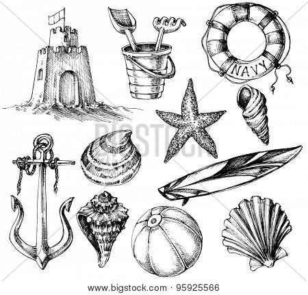 Summer collection, marine life and beach toys ink drawings