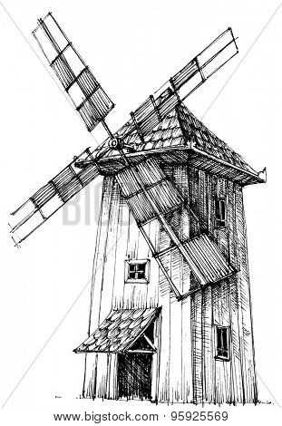 Old windmill isolated