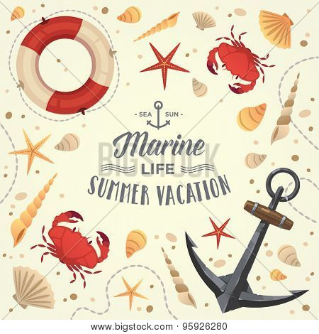 Marine life frame. Summer vacation. Vector illustration.