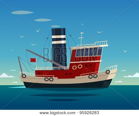 Tugboat at sea. Vector illustration.