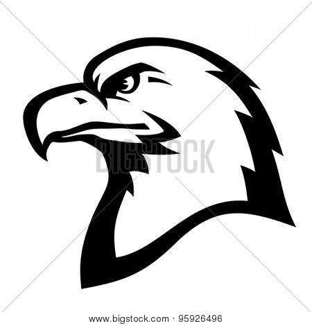 Stylized illustration of American eagle (bald eagle) head profile. Vector format EPS 8, CMYK.