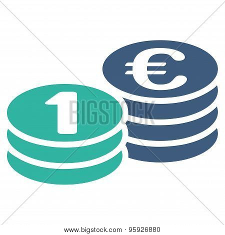Coins one euro icon from BiColor Euro Banking Set