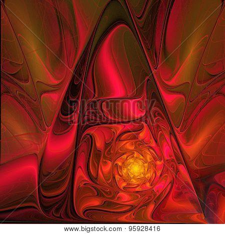 Fractal Illustration Background With Gold Shiny Satin Flower