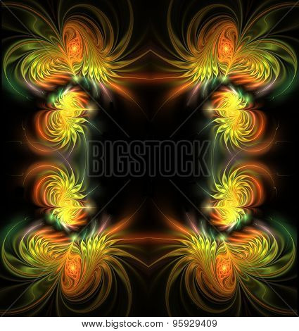 Fractal Illustration Background Frame With Gold Satin Feathers S