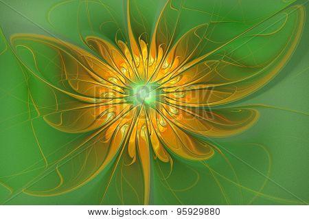 Illustration Background Fractal Shining Flower On A Green Backgr