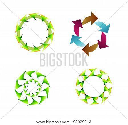 4 arrow rotation, loop, sign set