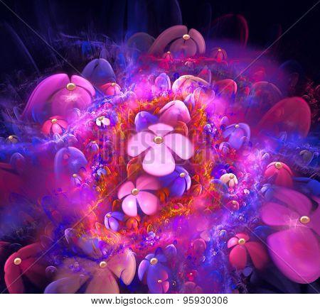 Fractal Illustration Background Bright Pink Color Field