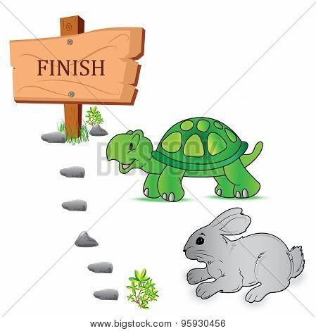Rabbit, turtle, speed, vector
