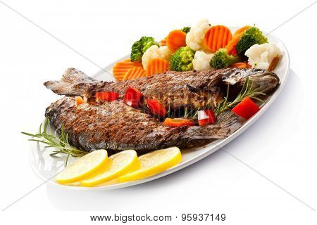Fish dish - fried trout with vegetables