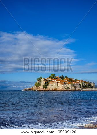 Village on an island in the sea