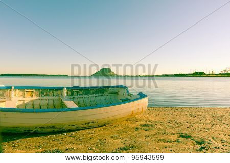 Old Image Clinker Dinghy On Beach