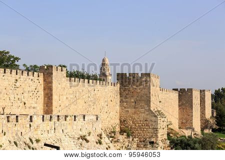 Wall Of Old City Of Jerusalem