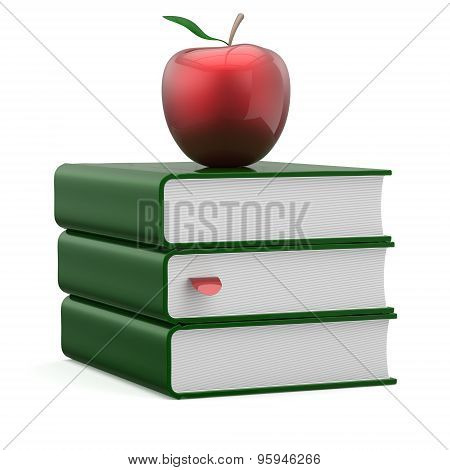 Books Green Covers Textbook Stack Blank Bookmark Red Apple