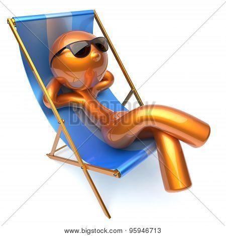 Man Relaxing Chilling Beach Deck Chair Sunglasses Summer