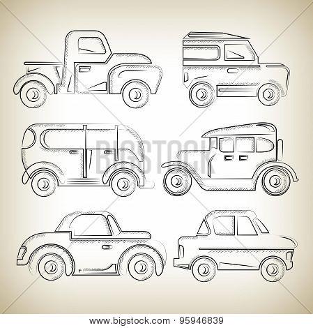 sketch classic cars