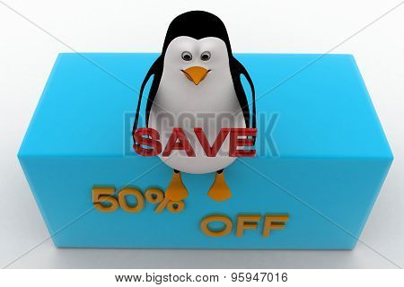 3D Penguin Sitting On Height And Holding 50 % Save Text Concept